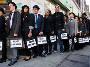 442438 unemployed people queue in london