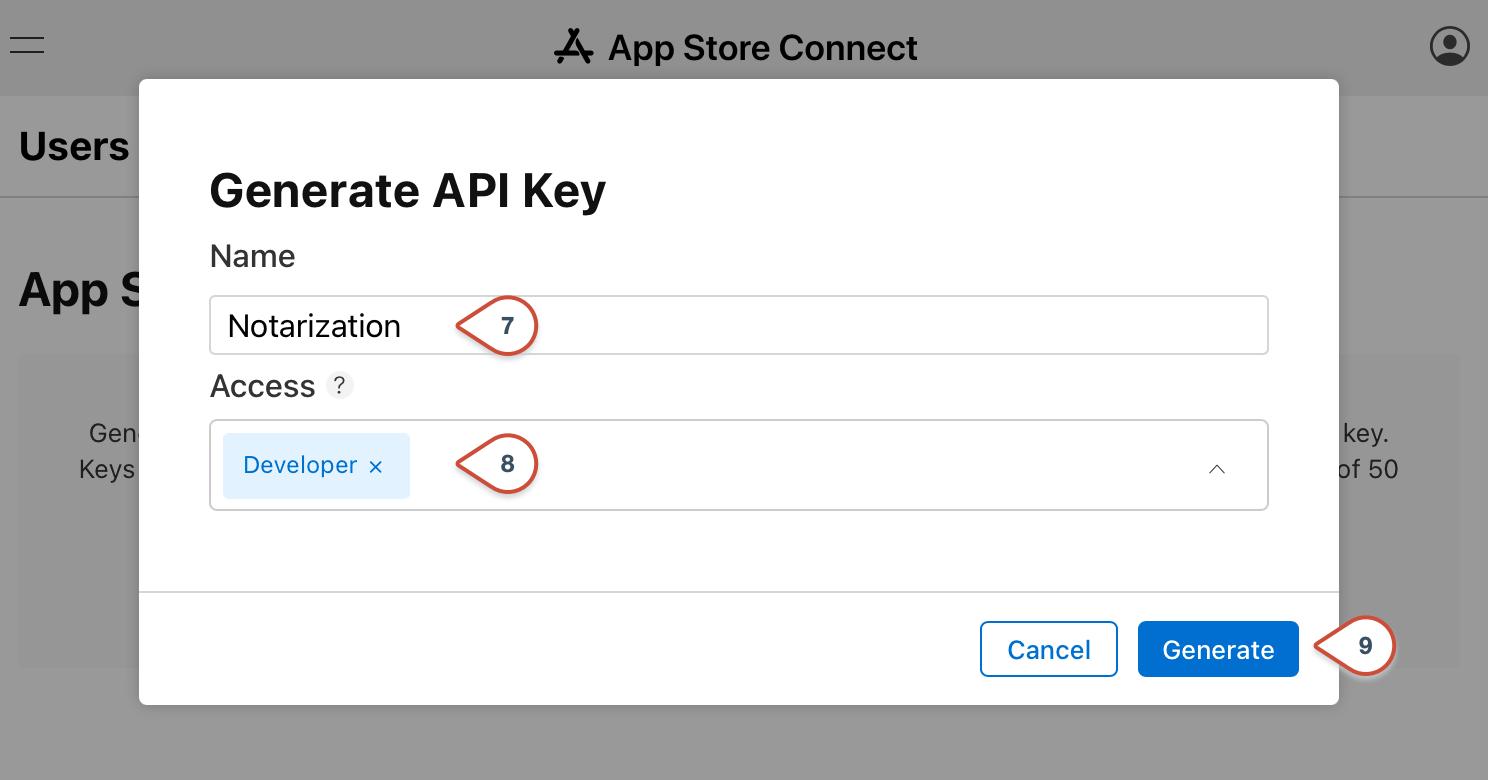 App Store Connect API Key Access