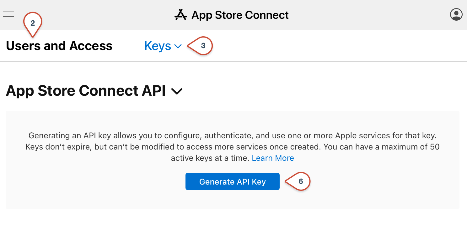 App Store Connect Generate API Key