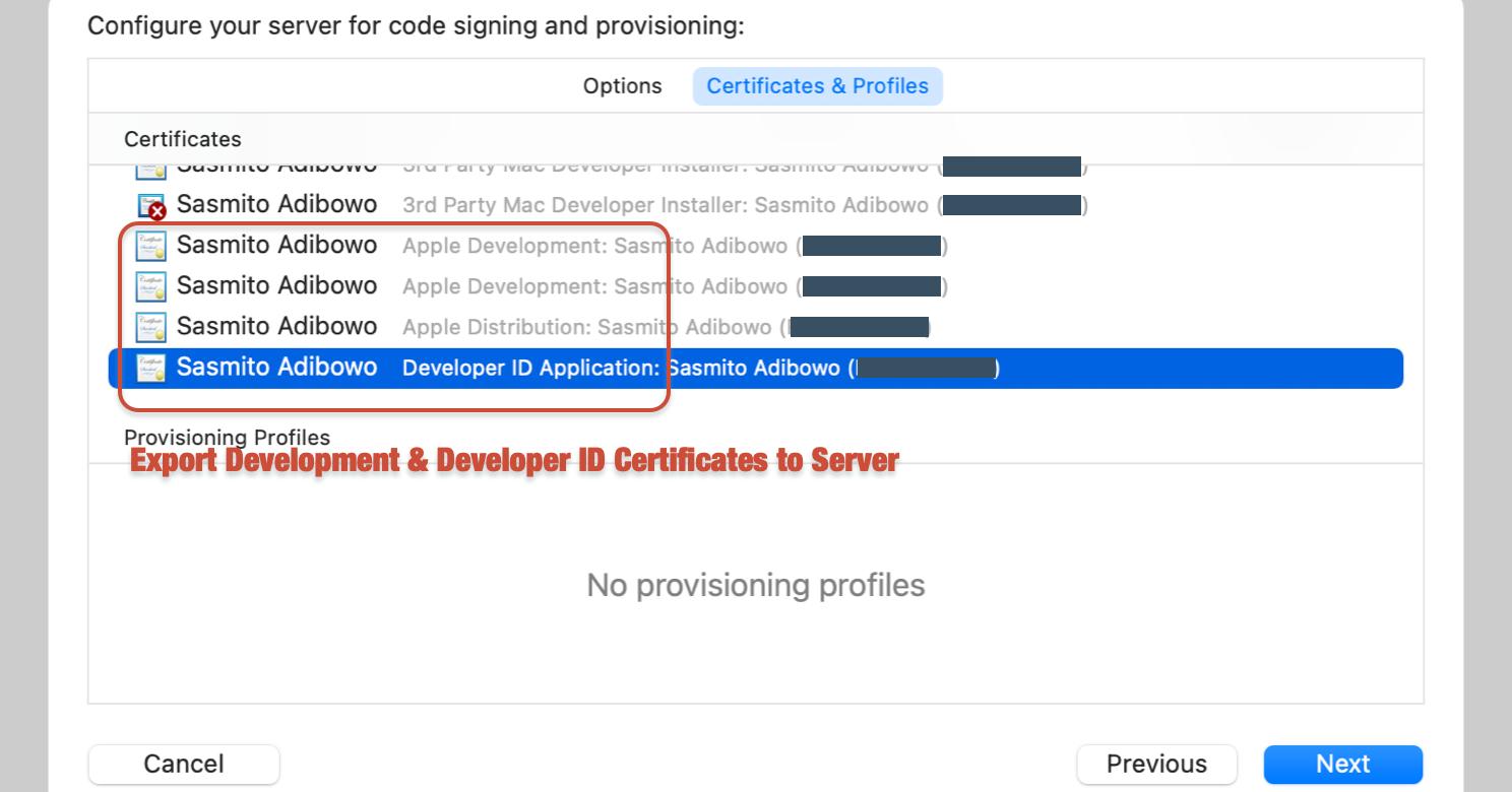 Upload Development Certificates into Xcode Server
